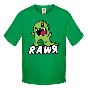 Funny Cartoon Dinosaur Rawr T-Shirt Roar Cool Doodle Boys Kids Clothing L77