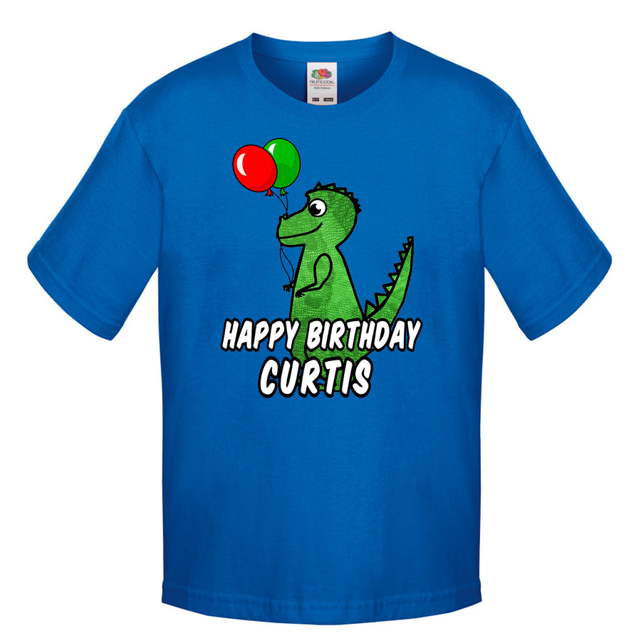 Personalised Dinosaur Birthday T Shirt Boys Top T-Rex Custom Printed Name L78