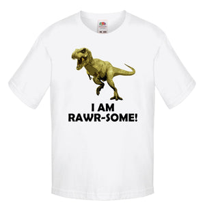 I Am Rawrsome T-Rex T Shirt Kids Boys Clothing Shirts T-Rex Cartoon Awesome L82