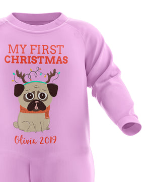 My 1st Christmas Personalised Baby Romper - Babys First Christmas - Custom Baby Christmas Outfit - Cute First Xmas Gifts - Christmas Pyjamas - Personalised My First Christmas Babygrow
