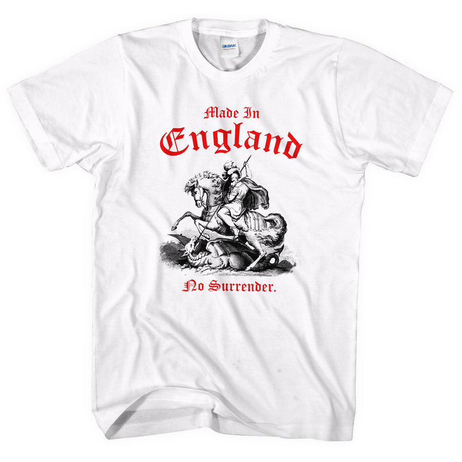 Made In England No Surrender St George Slaying Dragon T SHIRT Day Festival Party
