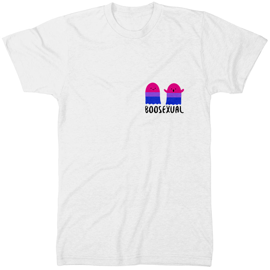 BOOsexual T Shirt - Bisexual Funny Halloween Themed Pocket Tee - Parody LGBTQ Top Gift Idea - Bi Gay Pride Festival Event Item - Gift Idea For A Bisexual Friend