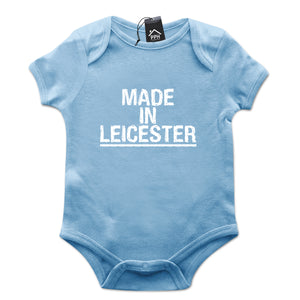 Made In Leicester Baby Grow Funny Body Suit Gift Newborn Foxes Football 634