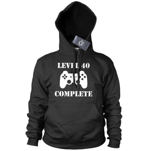 Level 40 Complete 40th Birthday Hoodie Funny Gaming Geek Gamer Hoody Fathers 642