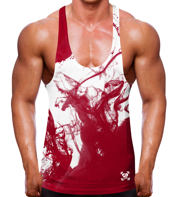 Vape Red Stringer Vest Men Gym Bodybuilding Clothes Training MMA Weights Top