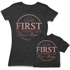 Our First Mothers Day *Your Babies Name* & Mummy Custom Personalised Matching T Shirts - Available for Mum, Daughter or Son