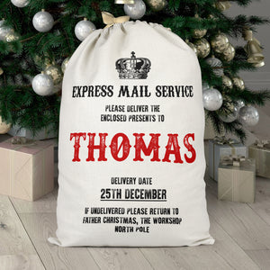 Personalised Express Mail Service Christmas Sack