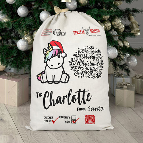 Personalised Unicorn Christmas Sack