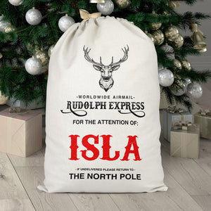 Personalised Rudolph Express Christmas Sack