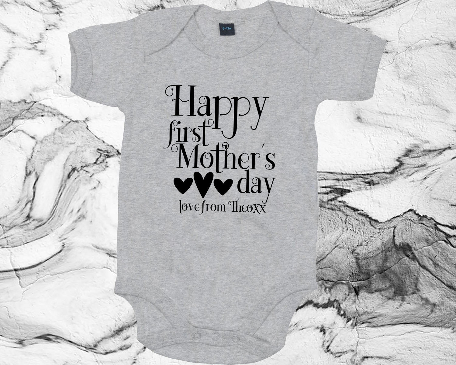 Personalised Our First Mother/'s Day Babygrow