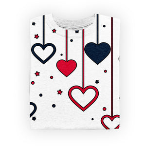 Heart Stars Womens T Shirt - All Over Print