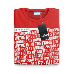 Liverpool Shirt - Champions Europe Allez Anthem Chant Song 2019 - 6 Times Winners Football & Soccer T Shirt
