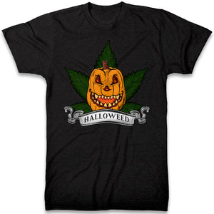 HalloWEED T Shirt - Funny Halloween Parody Tee Gift Idea For Stoners - Marijuana Pumpkin Tshirt Easy Halloween Costume For Stoners - Clothing For Halloween Parties