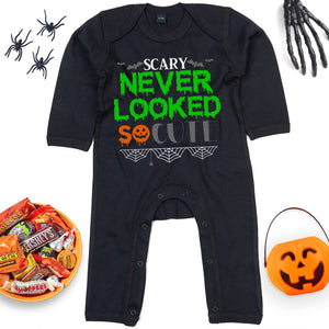 Scary Never Looked So Cute Halloween Babygrow - Funny Cute Halloween Baby Outfit For Newborn Babies or Babies Slightly Older - My First Halloween Gifts