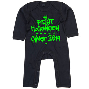 My First Halloween Personalised Babygrow - Custom Newborn Babies 1st Halloween - Cute Graffiti Halloween Baby Outfit - One-Piece Baby Sleepsuit - Baby Girl or Baby Boy