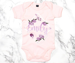 Flower Diamond Custom Name Babygrow - Personalised Baby Grow - Floral Baby Clothing - Personalised Babygrows - Custom Baby Name Gifts