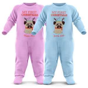 # My 1st Christmas Personalised Baby Romper - Babys First Christmas - Custom Baby Christmas Outfit - Cute First Xmas Gifts - Christmas Pyjamas - Personalised My First Christmas Babygrow