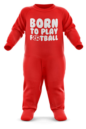 # Born To Play Football Babygrow - Football Baby Romper Suit - Babies Soccer Christmas Gift - Birthday Present - Newborn Sizes Available - Black, Red, Sky Blue Romper