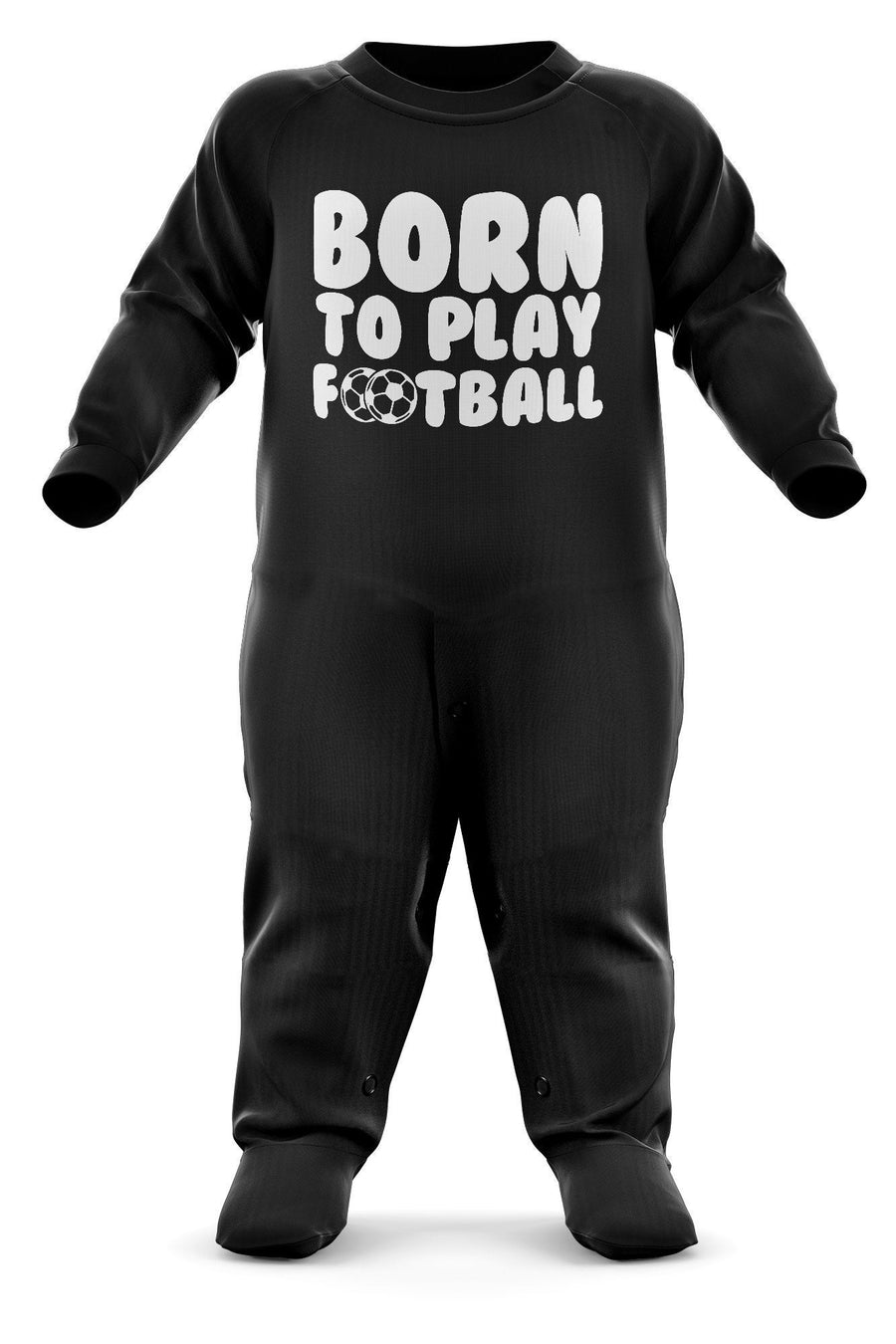 Born To Play Football Babygrow - Football Baby Romper Suit - Babies Soccer Christmas Gift - Birthday Present - Newborn Sizes Available - Black, Red, Sky Blue Romper