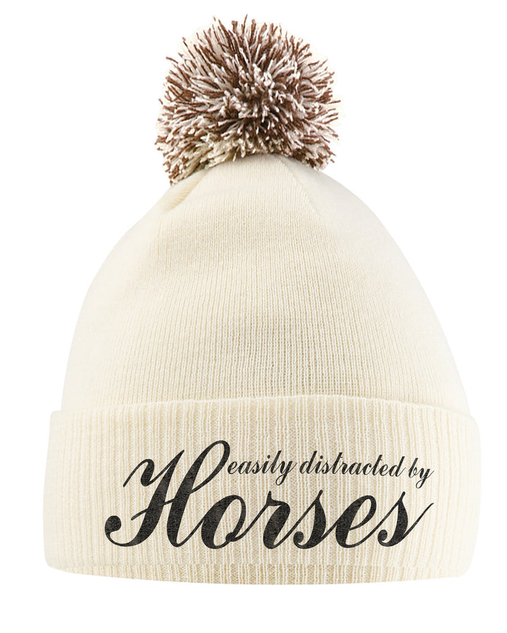Easily Distracted By Horses Bobble Hat- Horse Riding Hat - Equestrian Accessories - Horse Gifts For Girls - Horse Loving Girls - Winter Beanie Hats For Girls - Horse Riding Presents Women