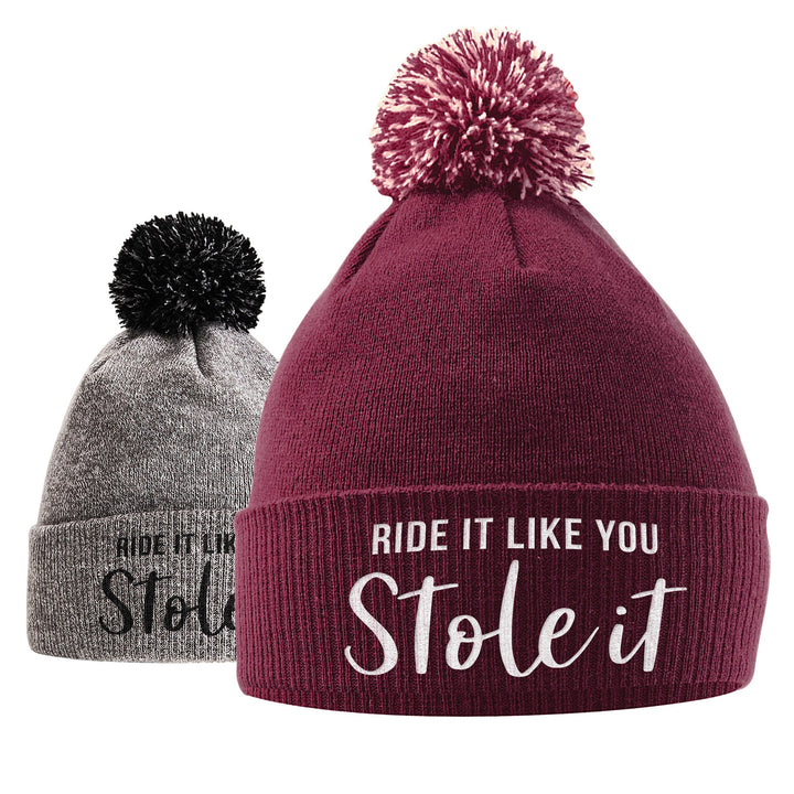 Ride It Like You Stole It Bobble Hat- Horse Riding Hat - Equestrian Accessories - Horse Gifts For Girls - Horse Loving Girls - Winter Beanie Hats For Girls - Horse Riding Presents Women