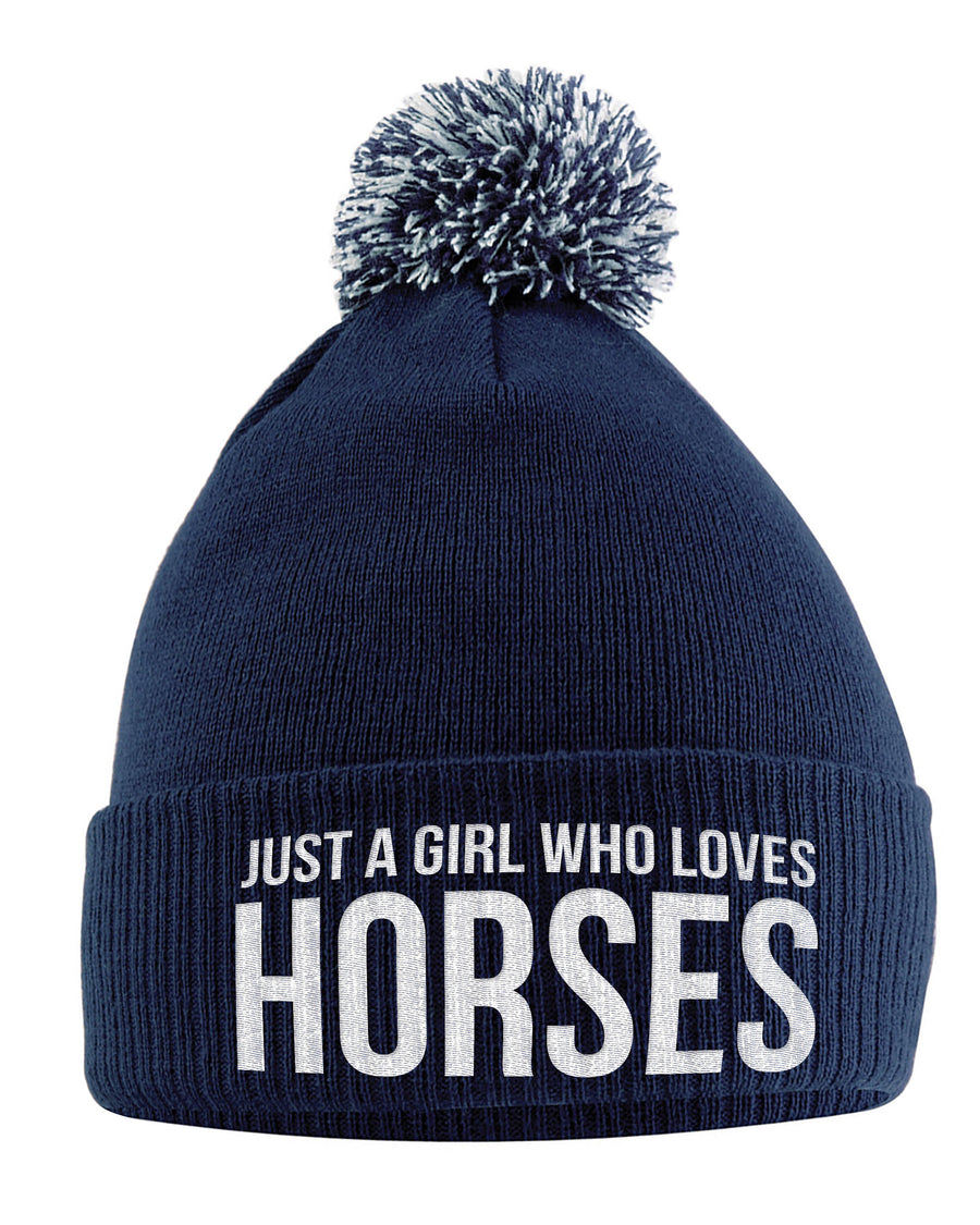 Just A Girl Who Loves Horses Bobble Hat- Horse Riding Hat - Equestrian Accessories - Horse Gifts For Girls - Horse Loving Girls - Winter Pom Pom Hats For Girls - Horse Riding Presents Women