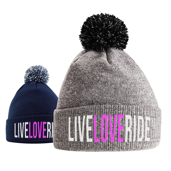 Live Love Ride Horse Riding Hat - Bobble Beanie Hat - Horse Riding Gifts For Girls - Winter Beanie Hat With Horse Slogan Embroidered On The Front