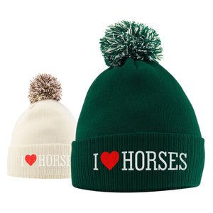 I Love Horses Hat - Bobble Beanie Hat - Horse Riding Gifts For Girls - Winter Beanie Hat With Horse Slogan Embroidered On The Front