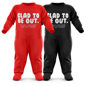 # Glad To Be Out, I Was Running Out Of Womb! Baby Grow - Funny Baby Romper - Christmas Birthday Babygrow Romper Suit - Newborn Baby One Piece - First Xmas