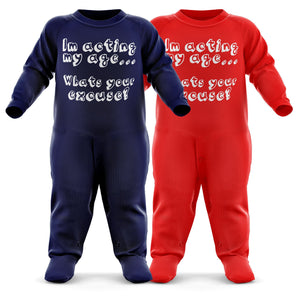 I'm Acting My Age, What's Your Excuse? Baby Grow - Funny Baby Romper - Christmas Birthday Babygrow Romper Suit - Newborn Baby One Piece - First Xmas