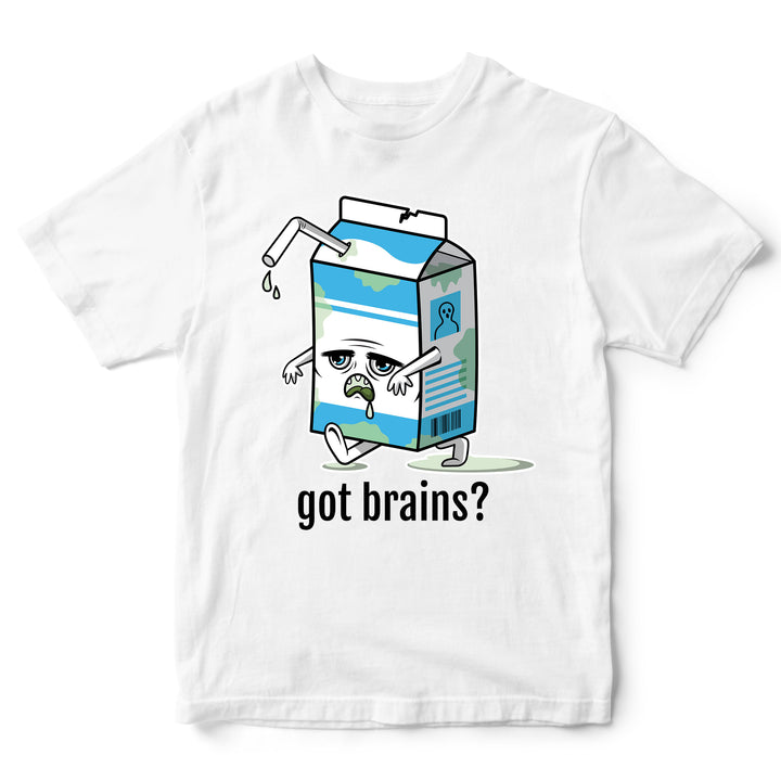 # Got Brains Funny Halloween T Shirt - Gone Off Expired Milk Carton Rotten Foods Parody Tee - Simple Halloween Trick or Treat Costume Idea - Halloween Parties