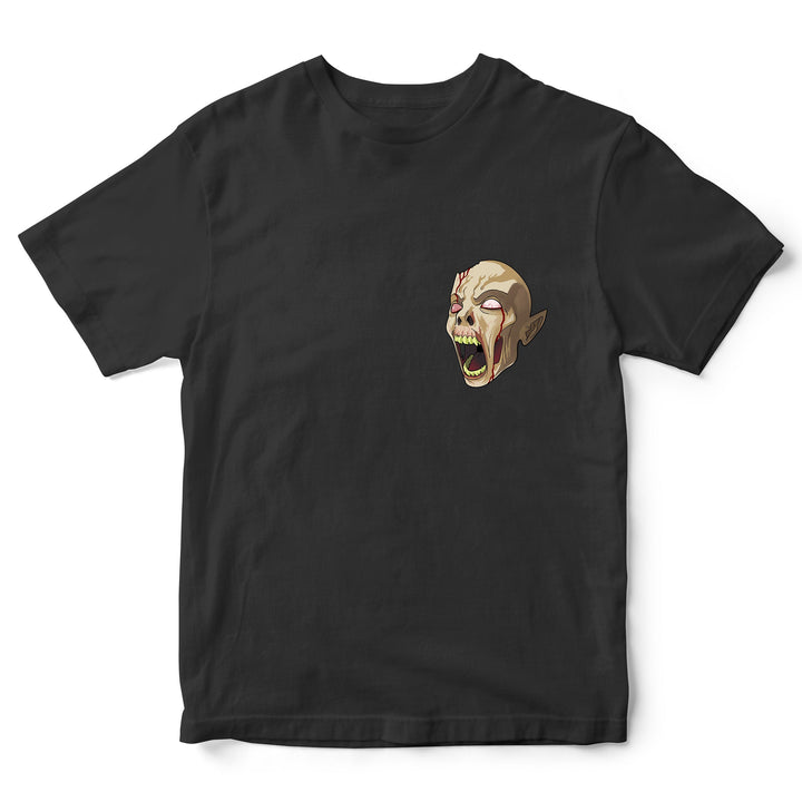 Demon Head Funny Halloween T Shirt -Scary Skull Head Pocket Print Tee - Simple Halloween Trick or Treat Costume Idea - Halloween Parties