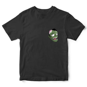 Zombie Head Funny Halloween T Shirt -Scary Zombie Head Pocket Print Tee - Simple Halloween Trick or Treat Costume Idea - Halloween Parties