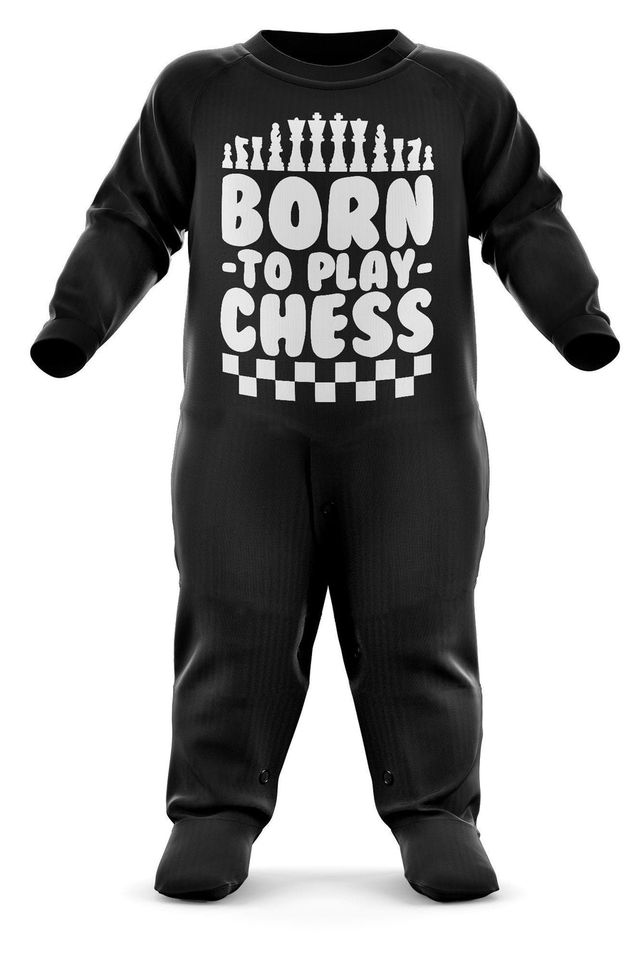 # Born To Play Chess Babygrow - Board Games Baby Romper Suit - Babies Chess Christmas Gift - Birthday Present - Newborn Romper