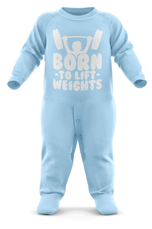 Born To Lift Weights Babygrow - Workout Baby Romper Suit - Babies Gym Christmas Gift - Birthday Present - Newborn Romper