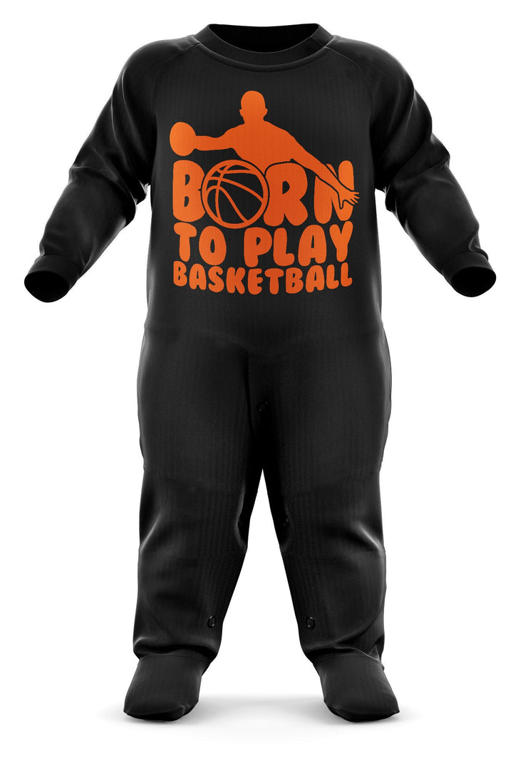 # Born To Play Basketball Babygrow - Basket Ball Baby Romper Suit - Babies First Christmas Gift - Birthday Present - Newborn Romper