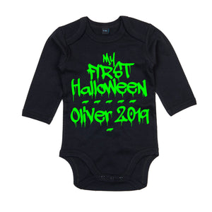 My First Halloween Babygrow - Newborn Babies 1st Halloween - Cute Graffiti Halloween Baby Outfit - One-Piece Baby Sleepsuit - Baby Girl or Baby Boy - Baby Clothes Halloween, Baby Shower Gift Idea
