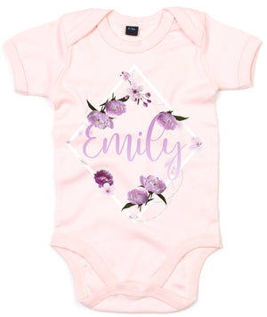 Flower  Custom Name Babygrow - Personalised Baby Grow - Floral Baby Clothing - Personalised Babygrows - Custom Baby Name Gifts