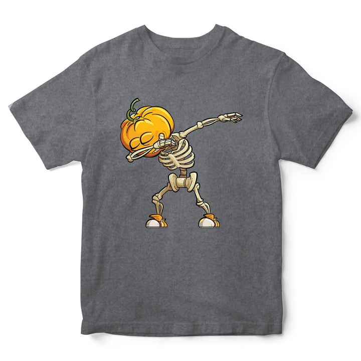 # Dabbing Skeleton Pumpkin Head Shirt - Funny Parody Halloween T Shirt - Kids Halloween Top Great Gift Idea - Dancing Cartoon Tee Shirts