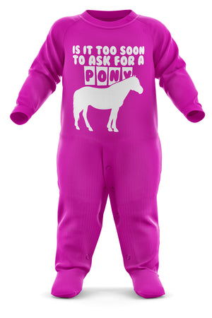 # Is It Too Soon To Ask For A Pony? Baby Grow - Funny Pony Baby Romper - Christmas Horse Birthday Babygrow Romper Suit - Newborn Baby One Piece - First Xmas