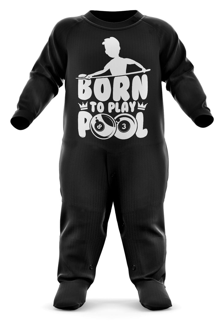 # Born To Play Pool Babygrow - Pool Baby Romper Suit - Billiards Babies First Christmas Gift - Birthday Present - Newborn Romper