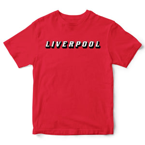 Liverpool 3D Text T-Shirt - City Football Supports Club Red Top Gift Idea Allez
