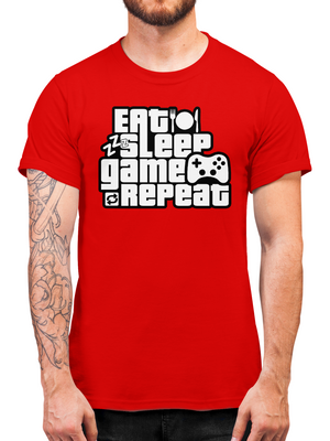 Eat Sleep Game Repeat Gamer T Shirt - Parody Gaming Tee - Gift Idea For Boys & Girls Who Play Video Games - Video Game T Shirt Present For Kids And Teens