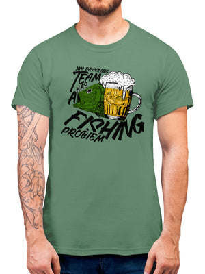 My Drinking Team Has A Fishing Problem T Shirt Funny - Gift Idea For Dad Father - Retirement T Shirt Birthday Present - Drink Beer Fish Top - Wear Whilst Fishing