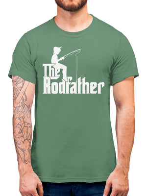 The Rodfather T Shirt - Parody Tee Shirts Mens Gifts For Fisherman - Fishing Present Idea For Godfather - Retirement Fishing Gift - Movie Parody Tshirt