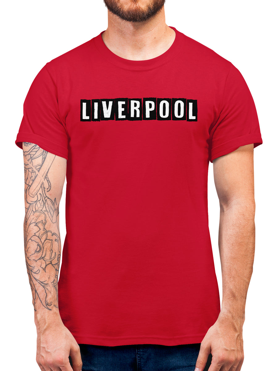 Liverpool Block Text T Shirt - Red Club Football Supporter FC Gift Idea