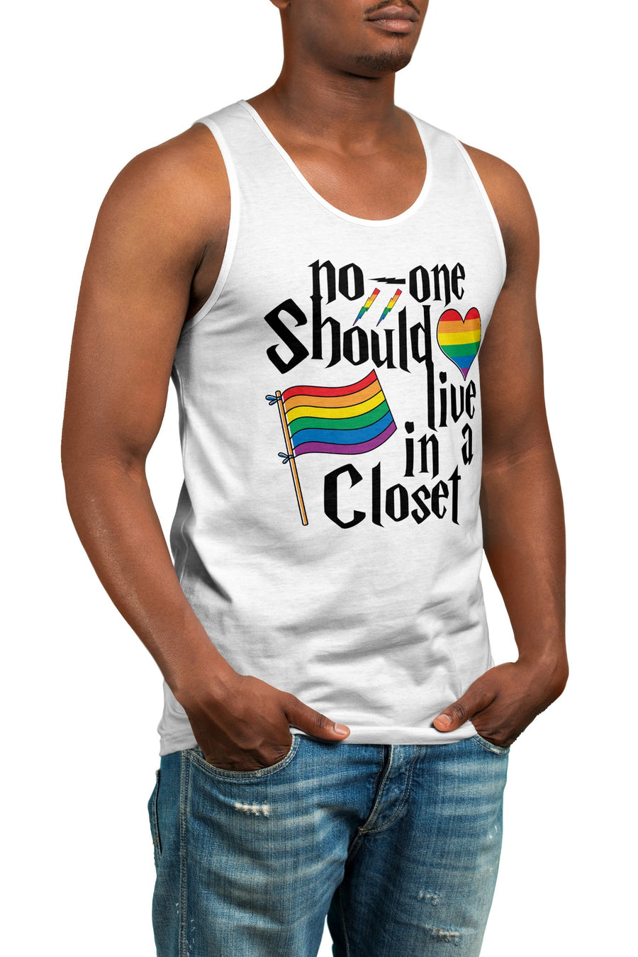No One Should Live In A Closet Gay Pride Vest - LGBTQ Parody Tank Top For Men Women Kids