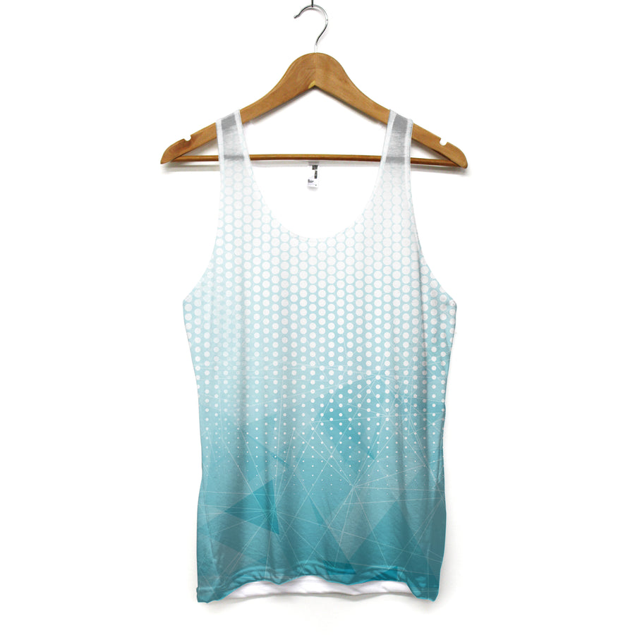 Abstract Summer Tank Top - Aqua and White Stylish Summer Vest