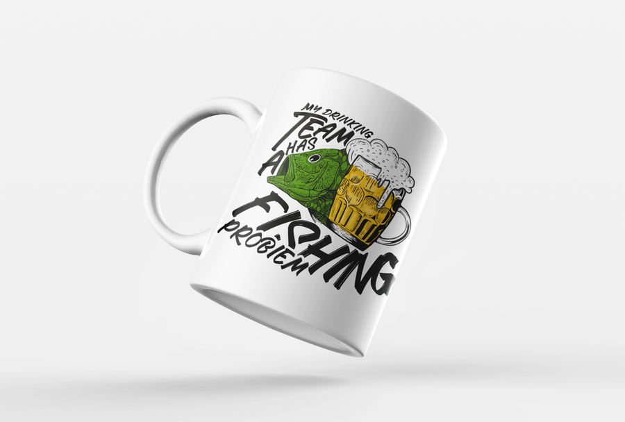 My Drinking Team Has A Fishing Problem Mug Funny - Gift Idea For Dad Father - Retirement Coffee Cup Birthday Present - Drink Beer Fish Mug - Wear Whilst Fishing