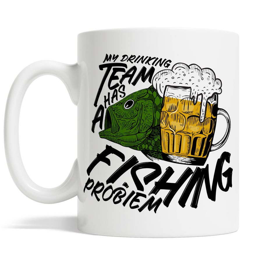 # My Drinking Team Has A Fishing Problem Mug Funny - Gift Idea For Dad Father - Retirement Coffee Cup Birthday Present - Drink Beer Fish Mug - Wear Whilst Fishing